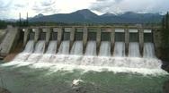 Dam spillway Seebe, #3 head on wide Stock Footage