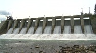 Stock Video Footage of dam spillway Seebe, #8 wide low angle