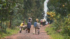 People walk their bicycles loaded with goods down a rural road in Rwanda. Stock Footage