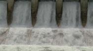 Stock Video Footage of dam spillway Seebe, #4 medium tight, optical illusion motion