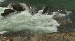 River and waterfall, river and waterfall, river to dam spillway pan Stock Footage