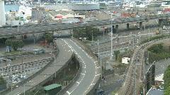 Railyards and motorway timelapse Stock Footage