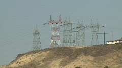 1411 - Power Lines on hill Stock Footage