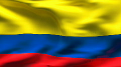 Textured COLOMBIA cotton flag with wrinkles and seams - stock footage