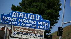Malibu Pier Sign 02 HD Stock Footage