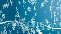 Background with different currencies Stock Footage