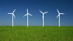 Four Windmills On A Field Stock Footage