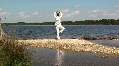 Yoga on the lake Stock Footage