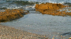 Morning Mediterranean Sea. Close up to the rocks in the water. Stock Footage