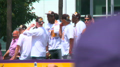 LA Lakers 2010 Championship Parade, Magic Johnson 01 Stock Footage