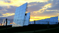 Sunrise over Solar Power Plant Stock Footage