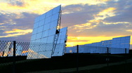 Stock Video Footage of Sunrise over Solar Power Plant