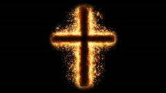 Religious cross on fire Stock Footage