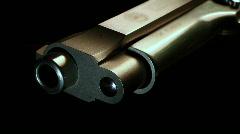 Macro silver pistol flyover Stock Footage