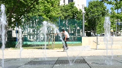 Roller-Skater Bench Jump and Water Fountain Stock Footage
