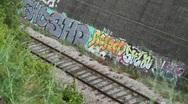 Stock Video Footage of Train and  Grafitti Wall