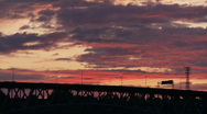 Stock Video Footage of freeway bridge sunset time lapse