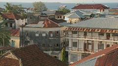 An establishing shot from a high angle of Stone Town, Zanzibar. Stock Footage