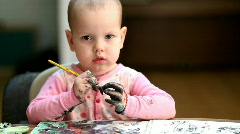 Baby artist Stock Footage