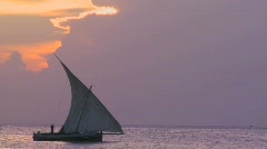 A beautiful shot of a dhow sailboat sailing along the coast of Zanzibar at - stock footage