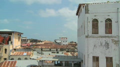 Time lapse shot looking over the rooftops of Stone Town, Zanzibar. Stock Footage