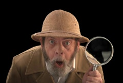 Explorer with Magnifying Glass  Front Stock Footage