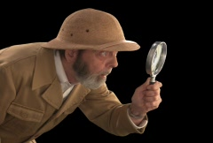 Explorer with Magnifying Glass  Profile - stock footage