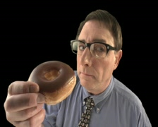 Nerd Eating Donut Stock Footage