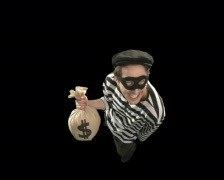 Thief with Moneybag Stock Footage