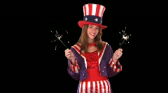 Cute Uncle Sam Girl with Sparklers Stock Footage