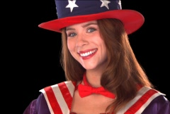 Cute Uncle Sam Girl Close Up Stock Footage