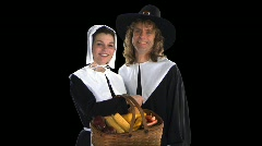 Stock Video Footage of Pilgrim Couple with basket