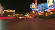 Stock Video Footage of Vegas Tracers Strip Night Drive - 03