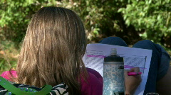 Girls Studying Next to Stream - 05 Stock Footage