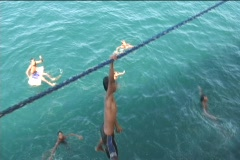 Filipino Children Diving For Money Stock Footage