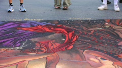 Contemporary Shoe Fashion at Chalk Painting Festival Stock Footage