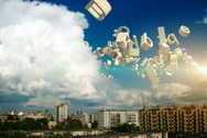 Flying letters in the sky above the city among the clouds Stock Footage