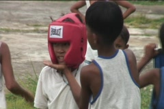 Filipino Kids Boxing Match Stock Footage