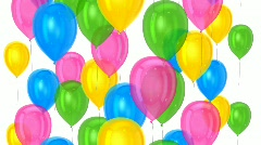 Balloons moving upward on isolated background  - stock footage