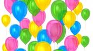 Balloons moving upward on isolated background  Stock Footage
