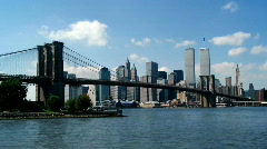 Stock Video Footage of Lower Manhattan With Twin Towers of World Trade Center from Brooklyn Bridge 1080