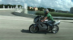 Motorcycle next to Intercoastal Stock Footage