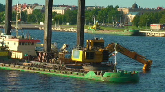 Stock Video Footage of HD 1080 - Aqua excavator (side view)