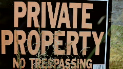 Stock Video Footage of Private Property No Trespassing sign