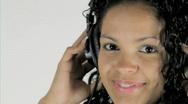Girl on Headphones Stock Footage