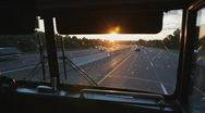 Stock Video Footage of Busride. Sunset.