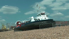 Hovercraft Entering Water Stock Footage