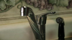 KITCHEN WATER FAUCET RUN RUNNING DRIP DROP LEAK LEAKY.mp4 Stock Footage