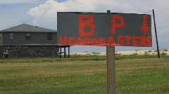 BP Gulf of Mexico Oil spill protest signage_05 Stock Footage