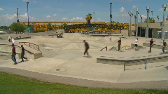 Sports and fitness, skateboard park, summer afternoon, wide shot Stock Footage